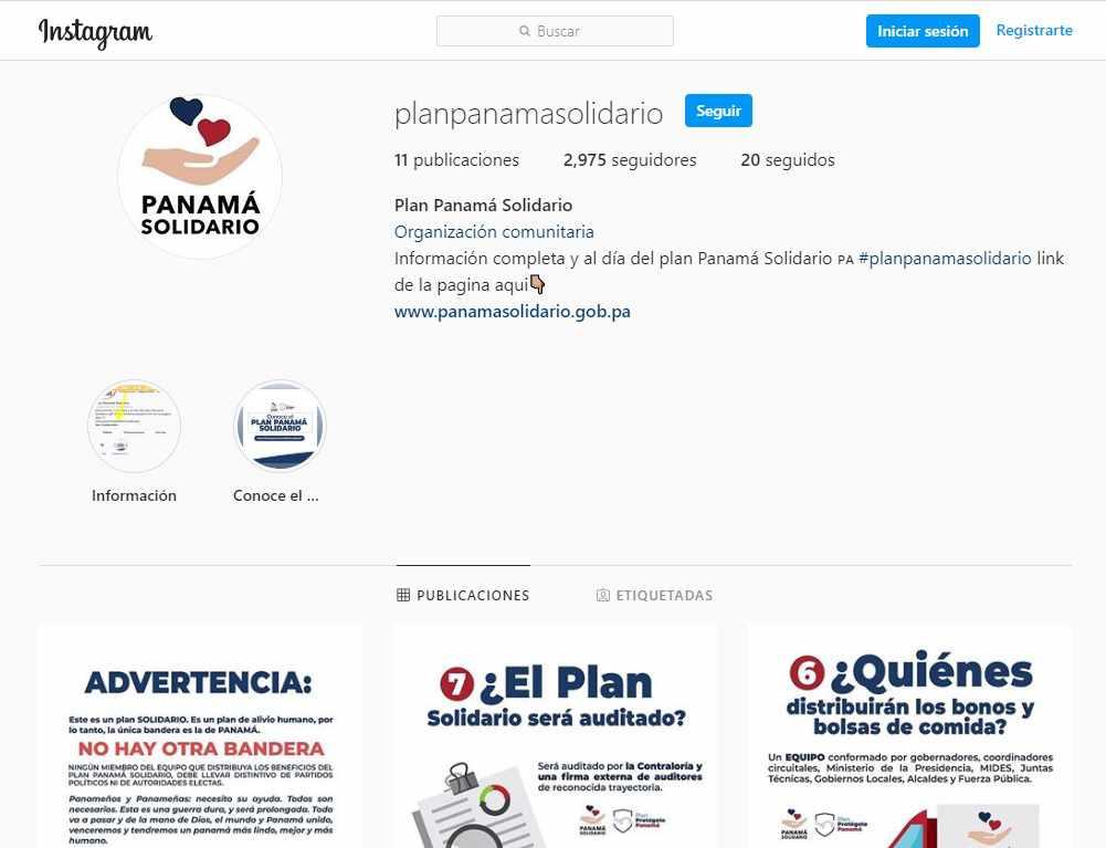 Plan Panamá Solidario - Instagram