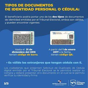 Tipos de cédula que se usan para el vale digital-Vamos Panamá